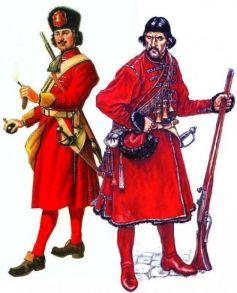 Гренадер и урядник русской пехоты в 1701 году.