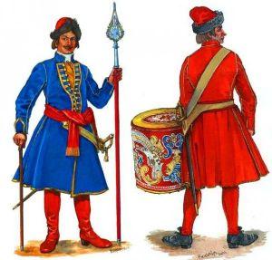 Офицер и барабанщик русской армии в 1701 году.